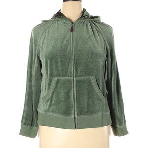Tangerine Petite XL Green Velvet Zip Up Jacket